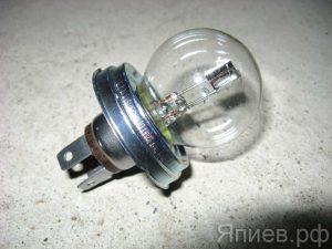 Лампа фарная А12-45+40 (3-конт, 12В) 61245 (МАЯК) хм